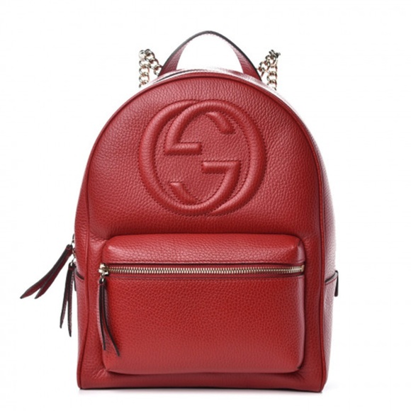 Gucci Handbags - Gucci Red Leather Soho Chain Strap Small Backpack